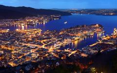 wallpapers Bergen Norway coast evening Hordaland