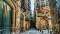 Other Side Street Barcelona City Stones Doors Balconies