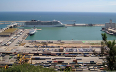 The container terminal in port of Barcelona city
