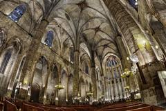 Church of Santa Maria building internal in Barcelona city