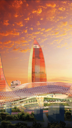 Futuristic architecture design buildings flame azerbaijan baku