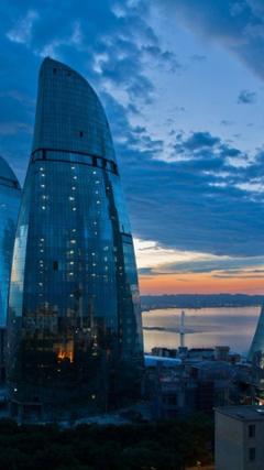 Futuristic architecture design buildings azerbaijan baku flame