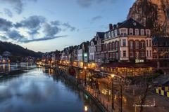 Wallpapers Belgium Houses Sky Dinant Canal Night Street lights