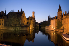 Wallpapers Belgium Houses Rivers Bruge Night Canal Cities
