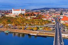 Photos Slovakia Bratislava Autumn Bridges Roads Rivers Cities