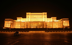 Palace Of The Parliament Bucharest Romania Night View
