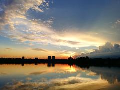 Sunset Over Lake Bucharest Romania 4K wallpapers