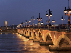 Night bridge in Bordeaux France wallpapers and image