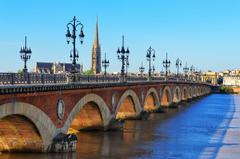 Wallpapers France Bordeaux Bridges Rivers Street lights Cities