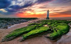 Sunset New Brighton Lighthouse In The United Kingdom Desktop