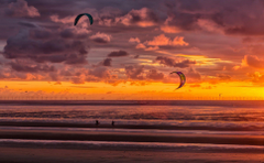 beach sunset kite surfers new brighton HD wallpapers