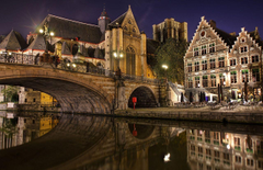 Wallpapers Belgium Brugge Bridges night time Cities