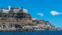 Spain Houses Sea Canary Islands Crag Puerto Rico Gran Canaria Cities