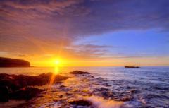 Wallpapers beach the sun rays light sunset stones shore the
