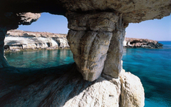 HD cave Rock Sea Cliff Cyprus Beach Island Nature