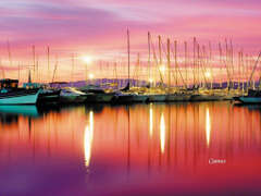 Red sunset in Cannes French Riviera