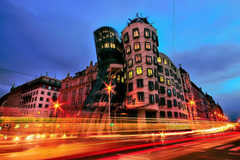 czech republic town prague dancing house night lights extract HD