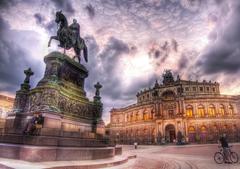 Man riding horse statue beside palace dresden HD wallpapers