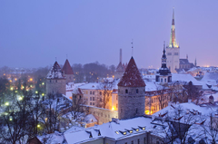 Image Tallinn Estonia Winter night time Cities Building