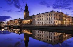 Wallpapers Sweden Gothenburg Rivers Evening Cities Houses