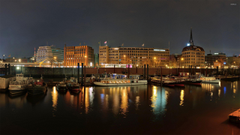 Hamburg harbour at night wallpapers