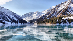 snow Lake Frozen Lake Kazakhstan Ice Mountain Landscape