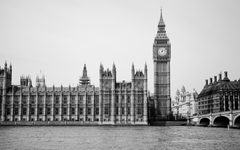 Wallpapers Tower Spire River Thames Monochrome Houses of