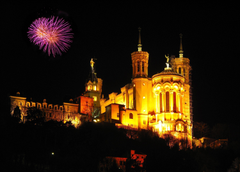 Pictures France Fireworks Lyon Notre