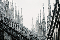 Stairways italy cathedral milan city stone buildings wallpapers