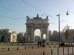 City view Arch of peace in Milan