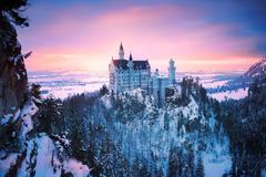 germany bayern munich neuschwanstein castle winter snow light HD