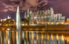 Wallpapers wall Cathedral fountain Spain promenade pond Spain