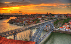 Image Porto Portugal Canal Bridges Sunrises and sunsets Cities