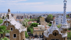 Barcelona Spain Park Guell entrance tourists View of Barcelona