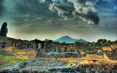 The Ruins of Pompeii and Mount Vesuvius widescreen wallpapers