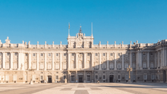 royal palace of madrid timelapse zoom out blue sky sun lighting the