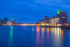 Night Harbor Rotterdam Reflection illuminated reflection