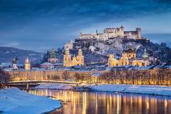 Image Salzburg Austria Winter Castles Sky Rivers night time Cities