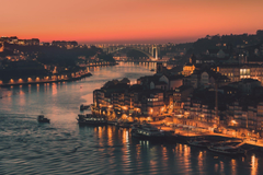 portugal town porto night lights river channel bridge HD wallpapers