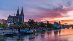 Image Germany Regensburg Riverboat Rivers Evening Marinas 1366x768