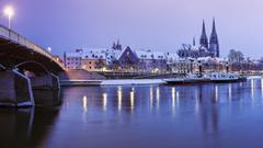 Rivers Natur Bavaria River Regensburg Germany Bridge City Hd Image