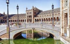 World Bridge River Europe Spain Plaza de Espana Seville wallpapers
