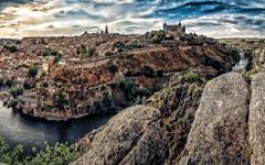 wallpapers Toledo HDR sunset river Toledo Castle Spain