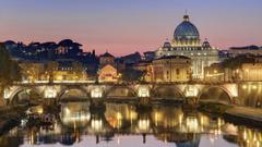 Night Light Bridge St Peters Basilica Vatican City wallpapers