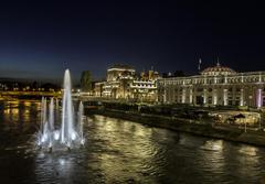 Photos Fountains Skopje Macedonia night time Cities Houses