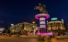 Macedonia Square Fountain And Monument Of Alexander Of Macedonia In
