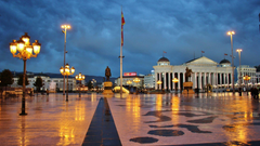 Square And Museum Of Archeology At Night Skopje Republic Of