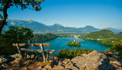 Lake Bled Mountains Tree Bench Bled Slovenia Wallpapers Hd