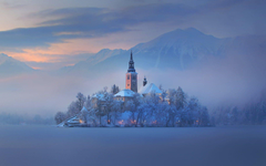 Church Of The Assumption At Winter Lake Bled Slovenia Wallpapers