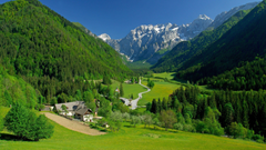 landscape Village Hills Mountains Trees Hairpin Turns Alps